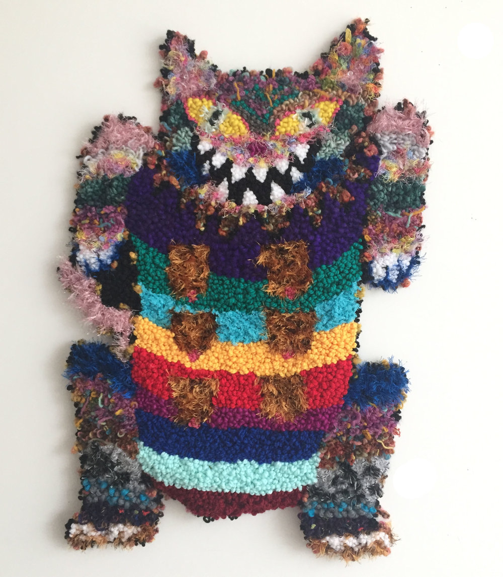 "Rainbow Kitty with the Furry Titties   Acrylic, Wool, Polyester, Burlap  31"" X 21""  2018"