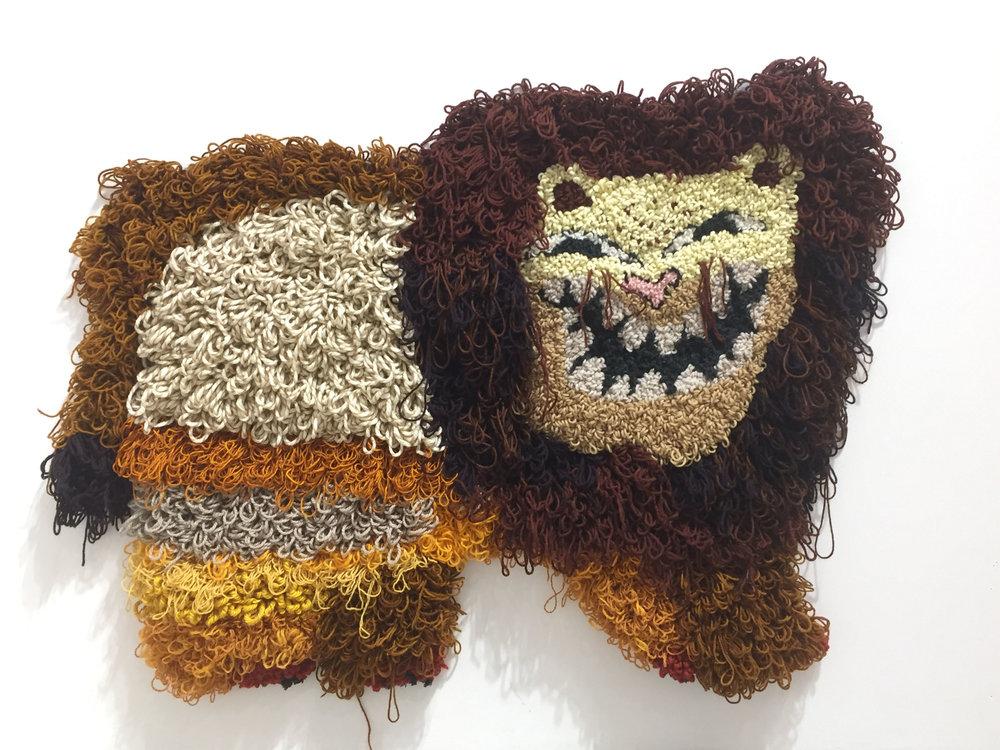 "Bad Mascot   Wool, Acrylic, Polyester, Burlap  32"" X 42""  2017"