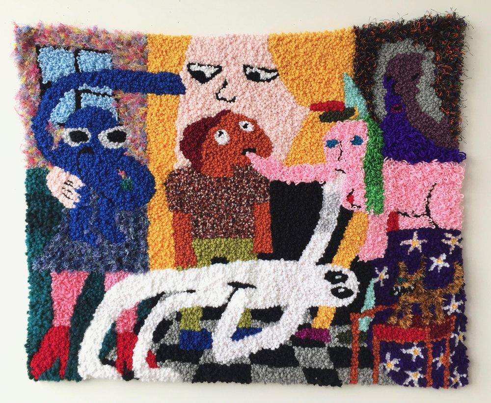 "Google Search: Dream Interpretation   Wool, Acrylic, Polyester, Cotton, Burlap  38.5"" X 46""  2018"