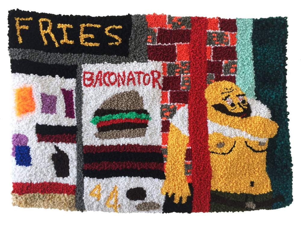 "Bacon Boy at the Drivethru   Acrylic, Wool, Polyester, Cotton, Burlap  31"" X 43.5""  2018"