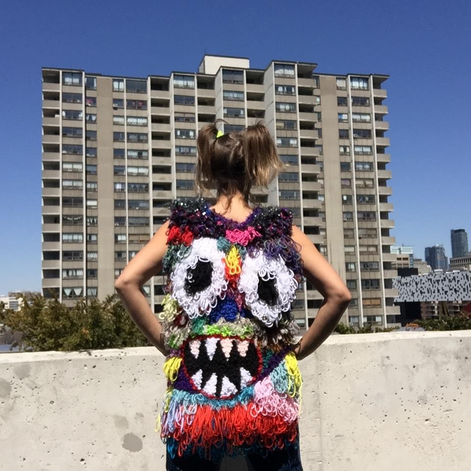 Fashion Face (Back)   Wool, Acrylic, Polyester, Burlap  Size Medium  2018
