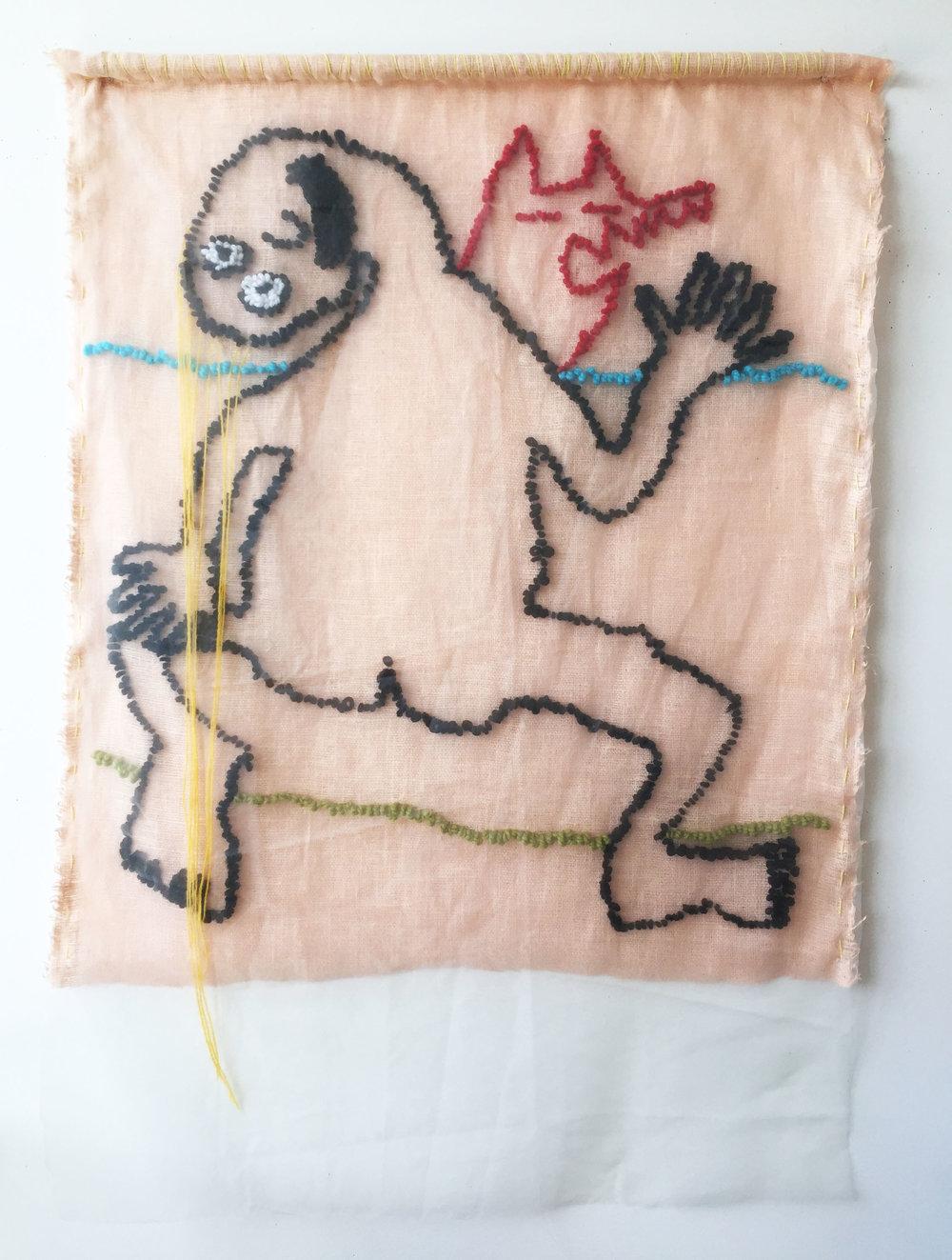 "The Red Shadow   Linen, Acrylic, Wool, Sheer, Dowel  57"" X 39""  2018"