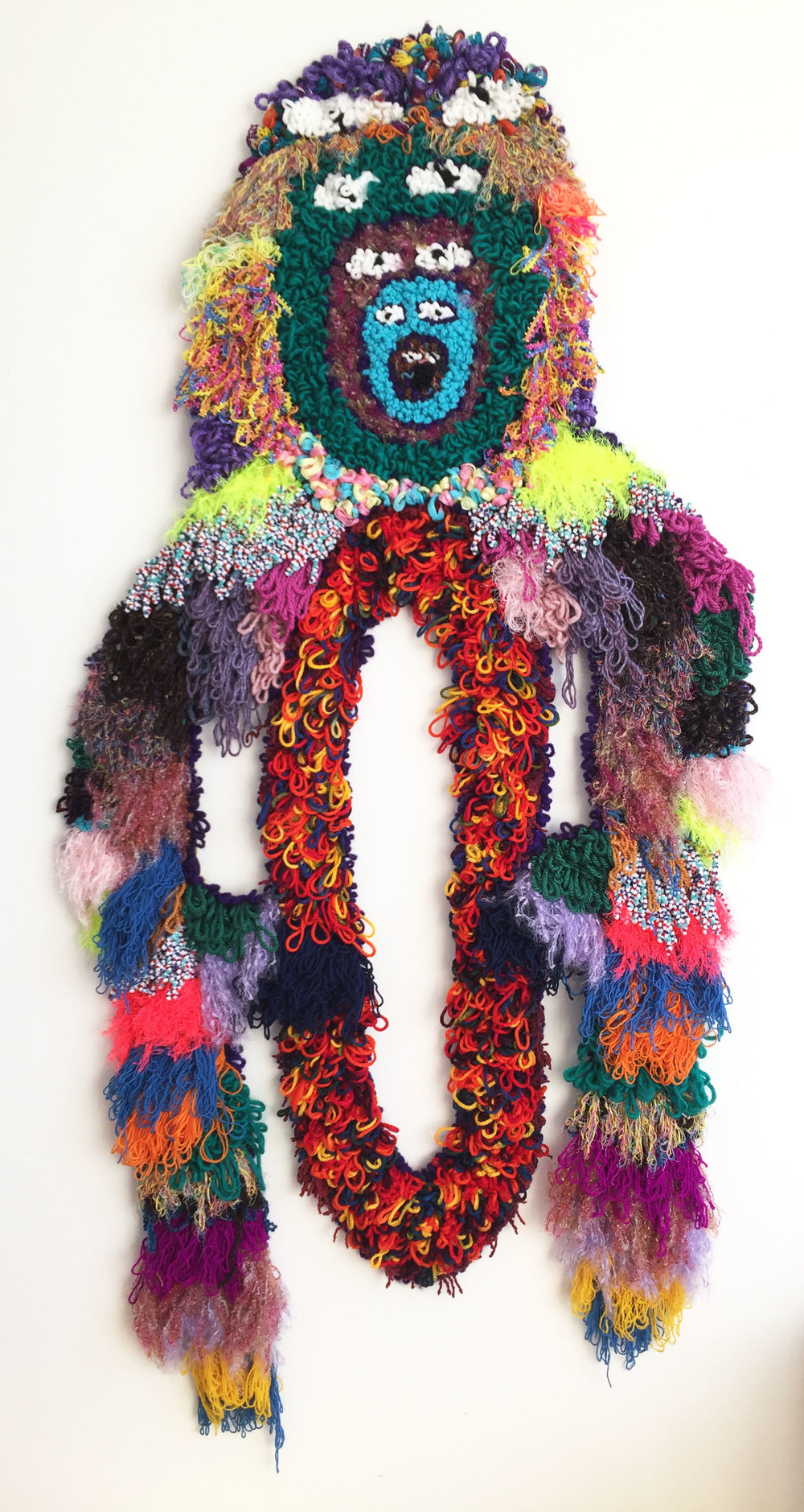 "Technicolor Vagina Monster   Wool, Acrylic, Polyester, Cotton, Viscose, Burlap  77"" X 38""  2018"