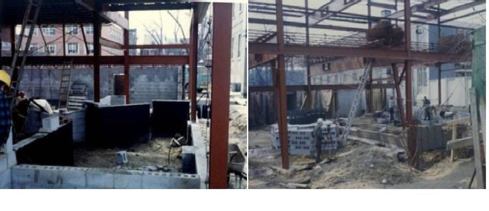 Installing structural steel beams supplied by the Dominion Bridge plant in Toronto