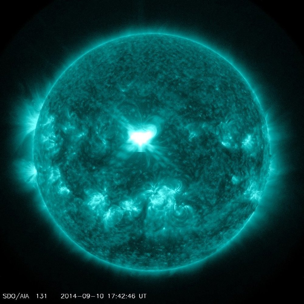 NASA's Solar Dynamics Observatory spacecraft captures Wednesday's solar flare eruption.