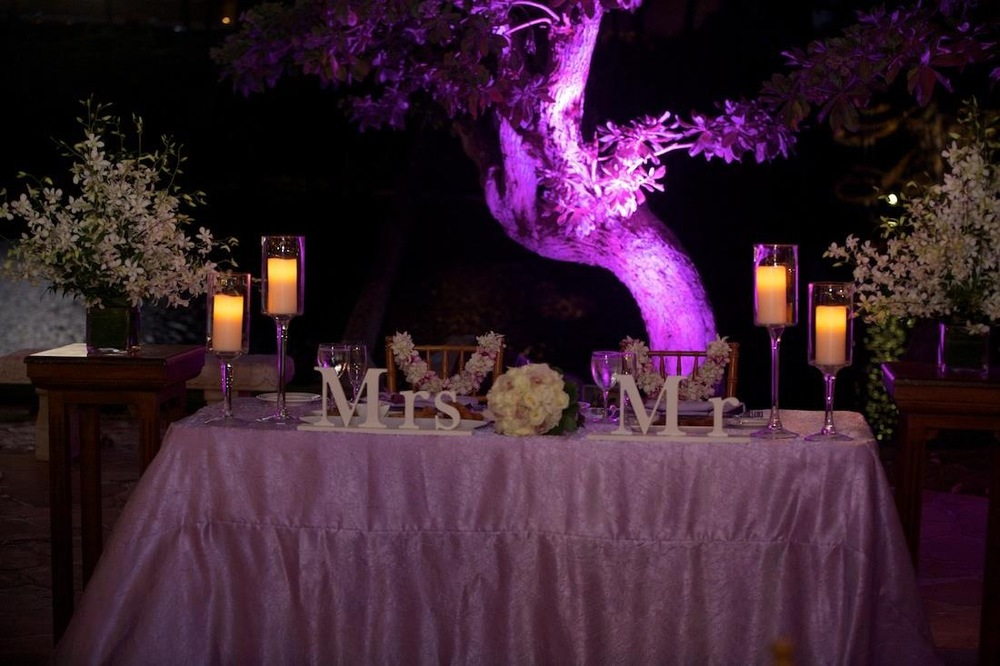 Uplights can make an area even more beautiful. Here you see our lavender uplight with lavender decorations.