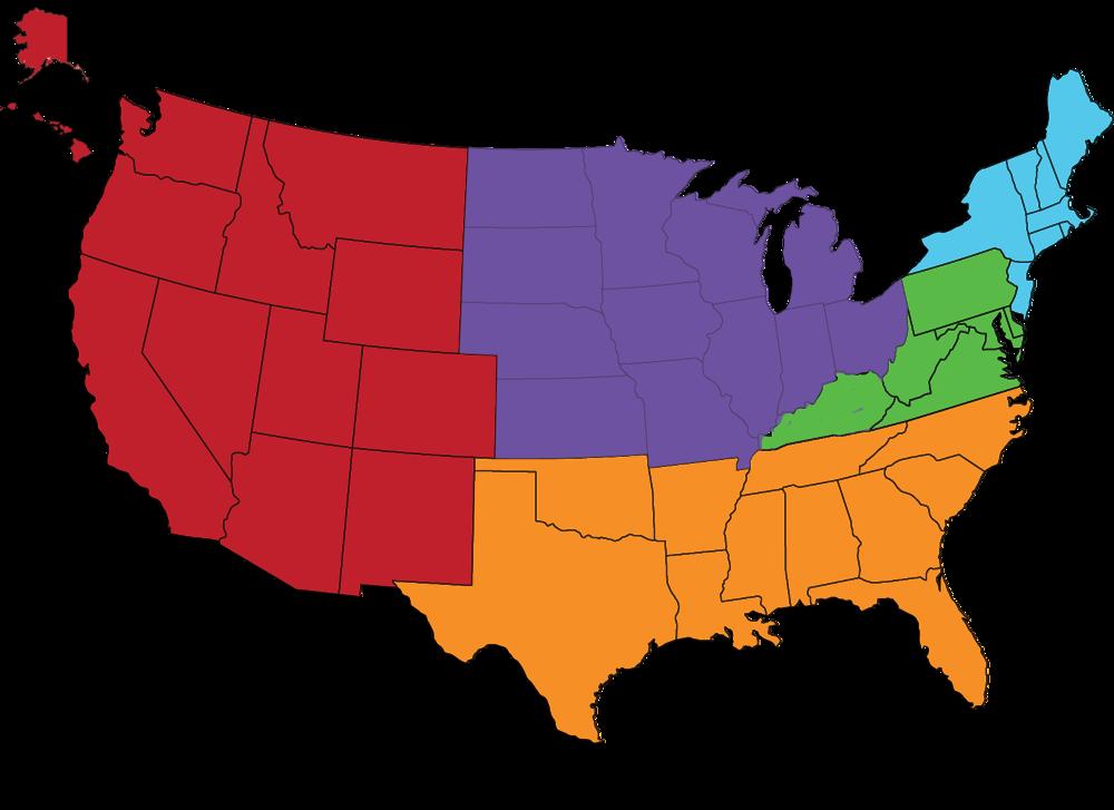 Illinois, Indiana, Iowa, Kansas, Michigan, Minnesota, Missouri, Nebraska, North Dakota, Ohio, South Dakota, & Wisconsin
