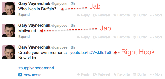I totally recommend Gary Vee's new book   Jab Jab Jab Right Hook