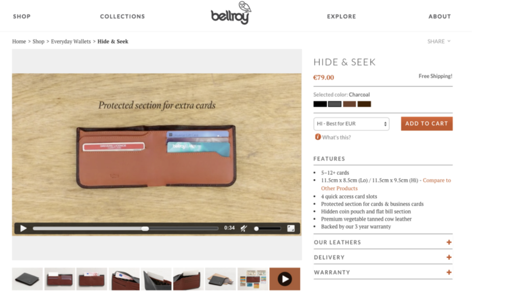 This eCommerce site uses feature videos of its products on each page.