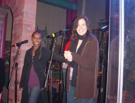 "With Audrey Martells at Donna Summer rehearsal on the set of ""Late Night with David Letterman"""