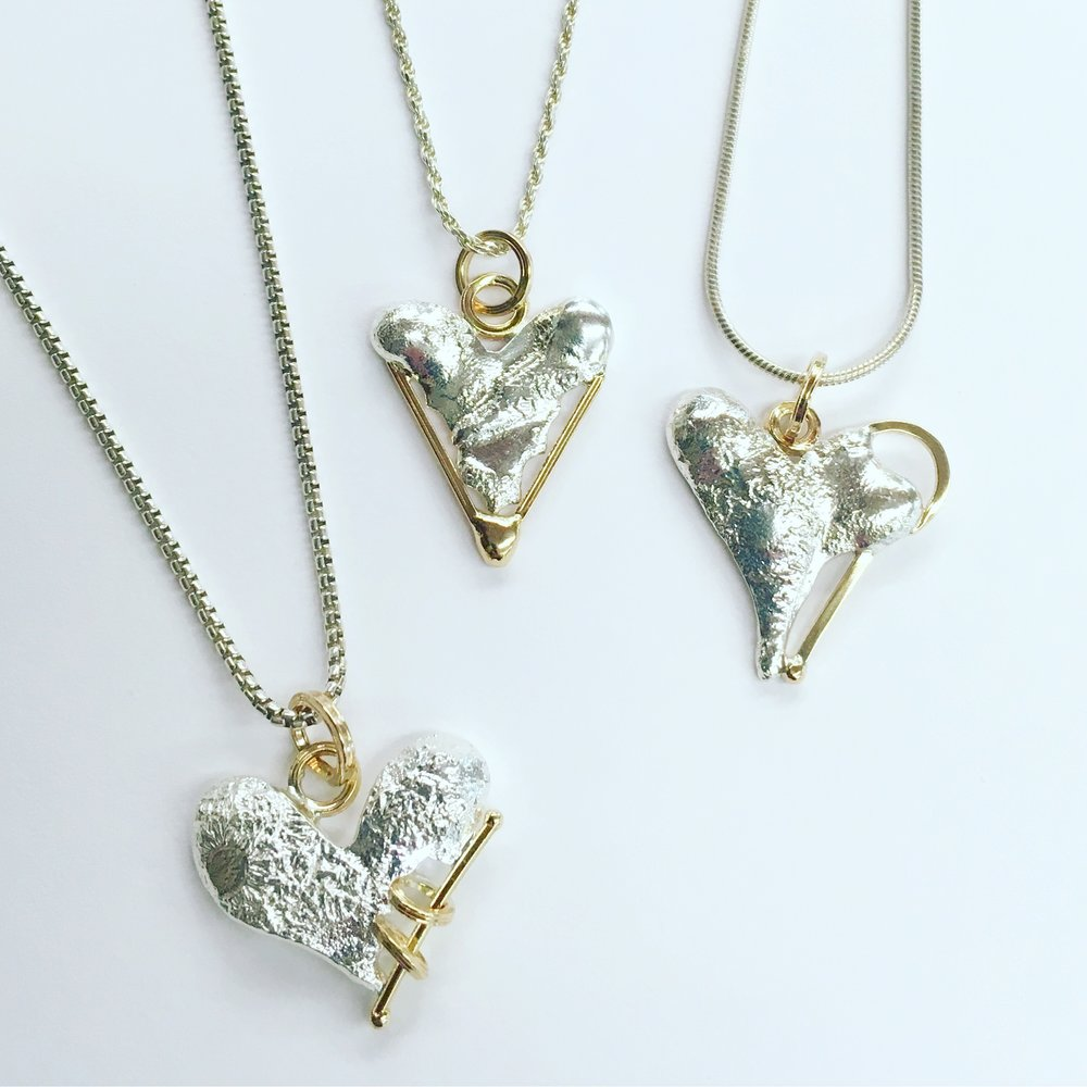 Kintsugi Heart Pendants