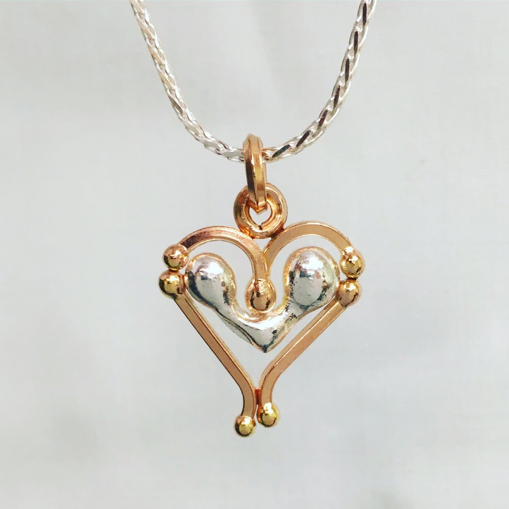A Silver & Rose Gold Kintsugi Heart