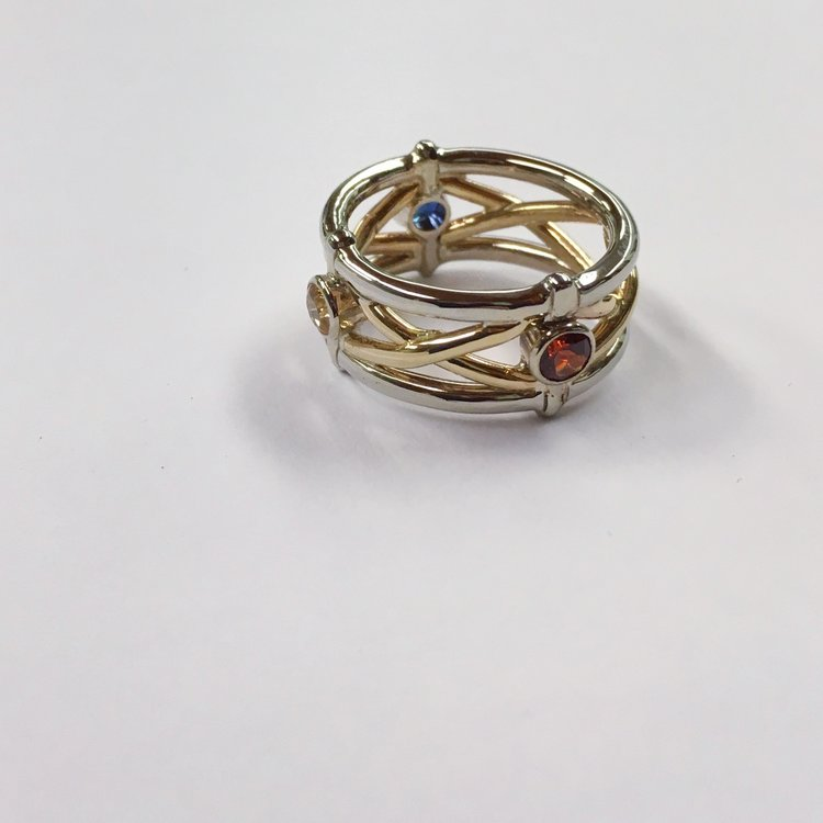 Wedding Band with Birthstones