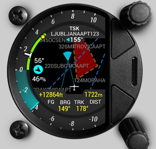 Luftraumdarstellung, natürlich nur wenn externe GPS Quelle angeschlossen ist