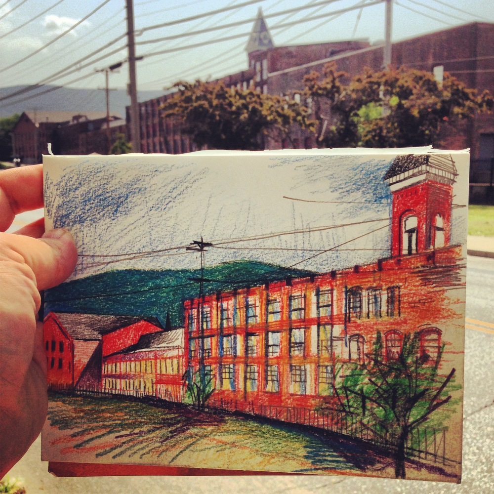 From my sketchbook, a view of the Mass MoCA building...getting into the summer camp spirit with some drawing time.