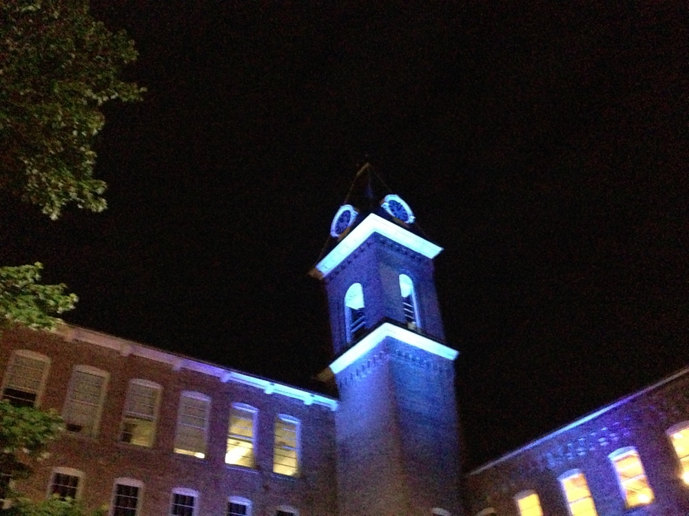 Even at the very end of a long day, it is hard to leave the campus with its illuminated bell tower.  #MassMoCA