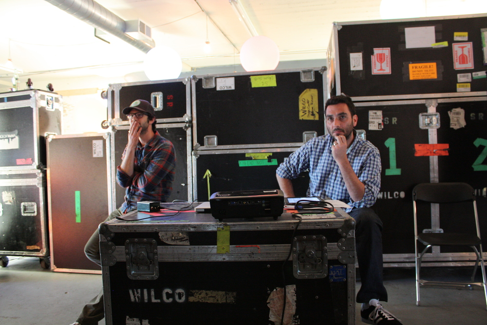 One of Wilco's managers Ben Levin and I talk about the album art making process at the loft visit.