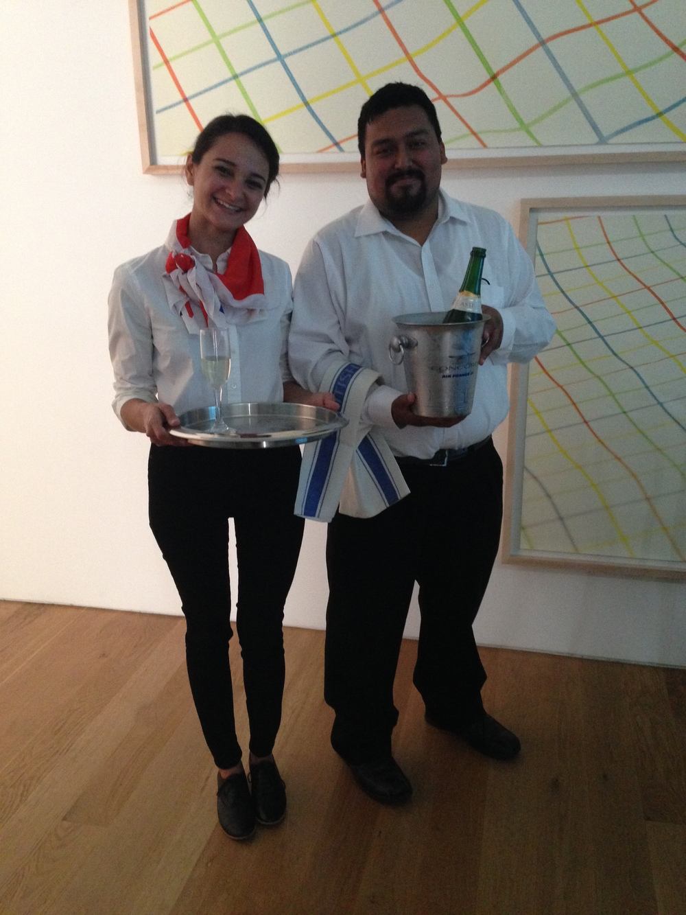 Flight crew for the Concorde session Marlene Franco and Rene Quintanilla. Champagne served to our guests for this talk with Air France Concorde glasses and Champagne buckets.