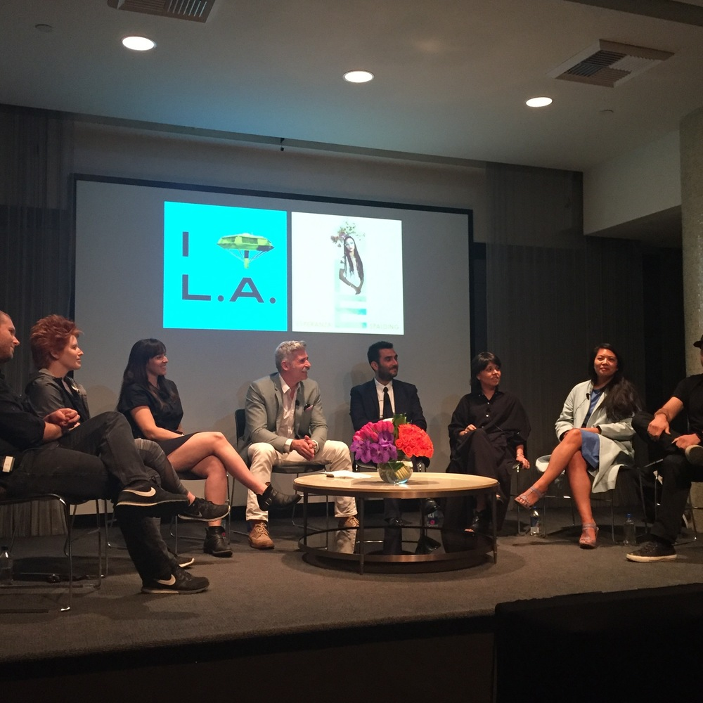 "Westweek 2016 Keynote Panel ""To Live and Design In DTLA"" L-Rl Erin & Ian Besler, Curator Danielle Rago, Moderator Carlo Caccavale, Associate Director AIA Los Angeles, Myself, Loryn Napala & Monica Opaskar of Untitled Mondays, and Spencer Nikosey of KILLSPENCER."