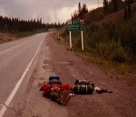 Waiting (a long time) for a ride somewhere in the Yukon Territory.