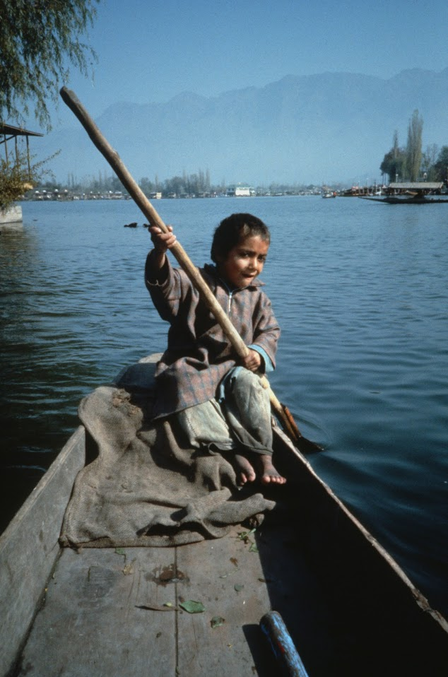 On a shikara on Dal Lake in Srinigar.