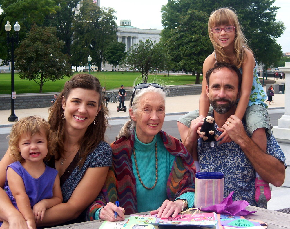 With Chris, the kids, and Jane Goodall.
