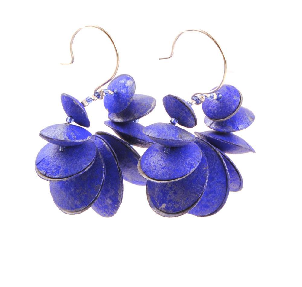 Handpainted Paper earrings, ultramarine
