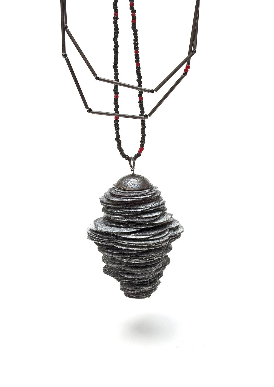 Black /Silver Paper Strobilus Pendant