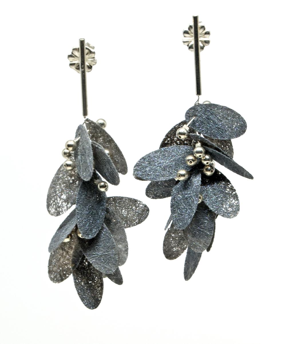 Painted Poly Earrings, grey