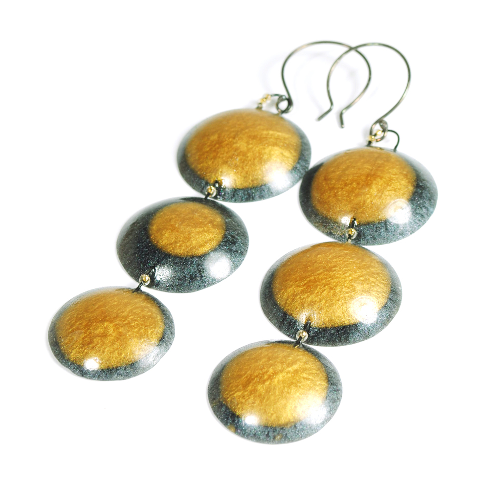 Cast Epoxy Triple Moon Earrings
