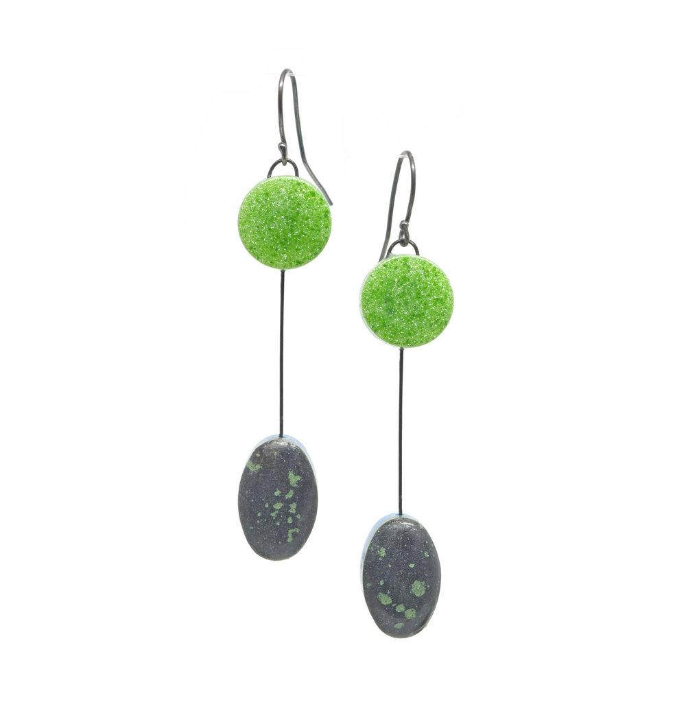 Resin OvalDot Earrings