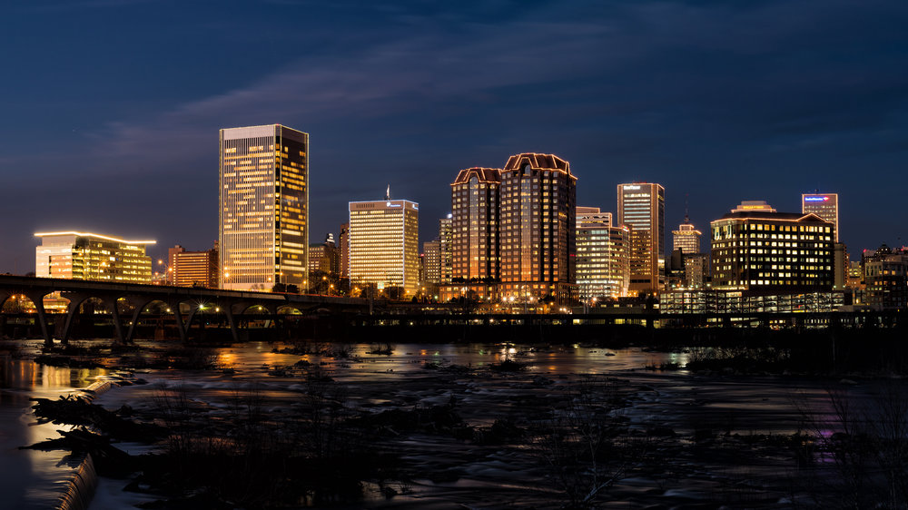 RVA Skyline all lit up for the holidays!