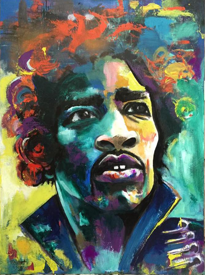 """Jimi Hendrix 36"""" x 48"""" $1000"""