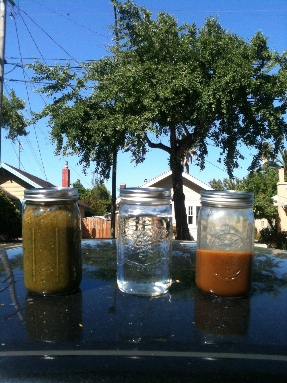 I headed up to Sacramento on June 1st to drop off and install the work. My boyfriend sent me off with some necessary liquids. Here are some mason jars of green juice, water and coffee for the ride up.