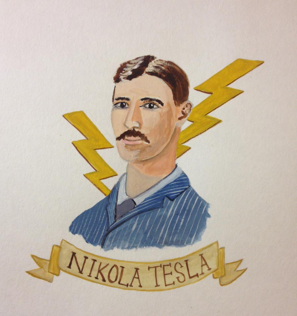 Nikola Tesla, gouache on paper