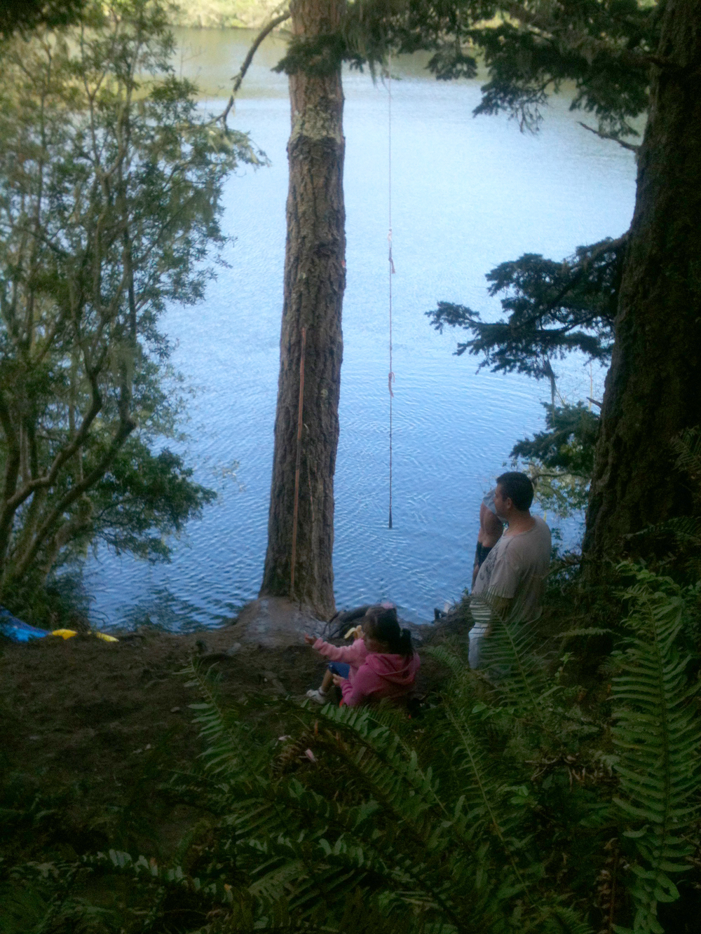 The first of two lakes we found on the trail. We found a family finishing up swimming. We're going to come back and use that rope swing... or maybe return with thicker rope.