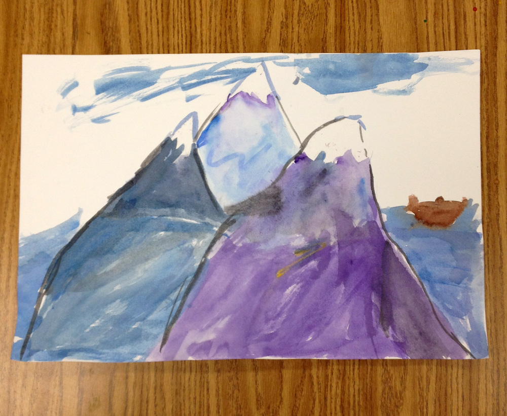 Three mountaintops and a boat. This student was inspired by her summer trip to Mount Shasta.