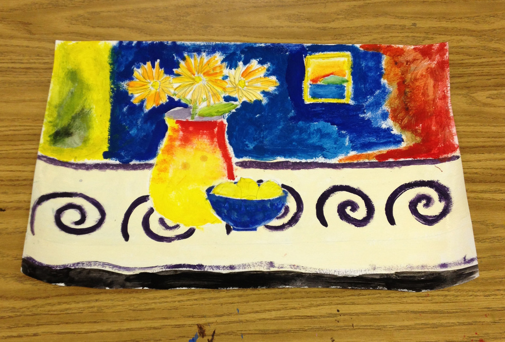 Lots of primary colors here. This student was very specific with her vision, so I just let her do her thing. I just love this painting.