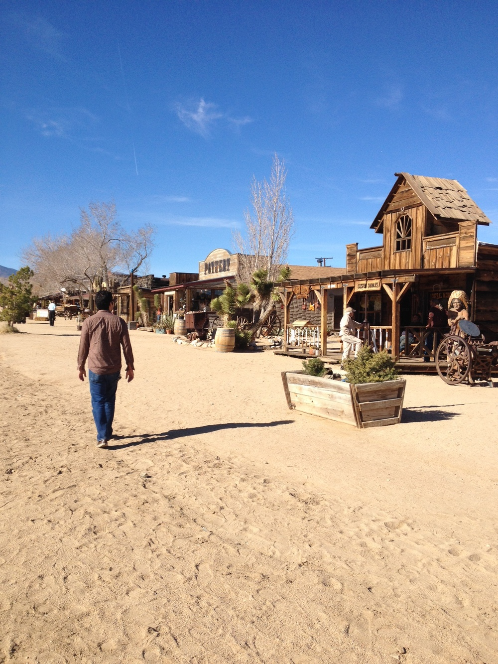 Pioneertown, a strip of old western buildings, some still in use as shops.