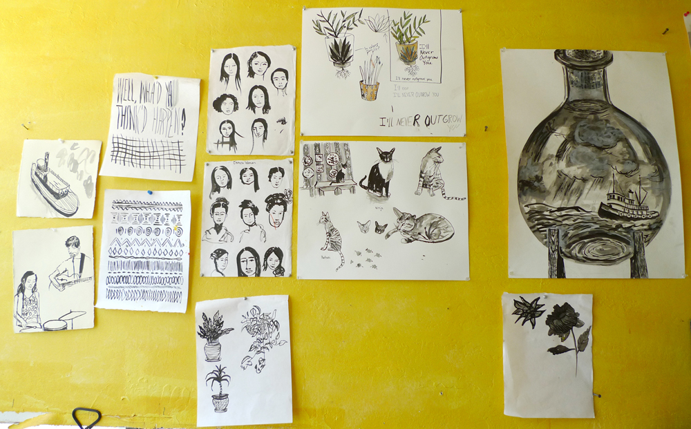 Sketches on my studio wall