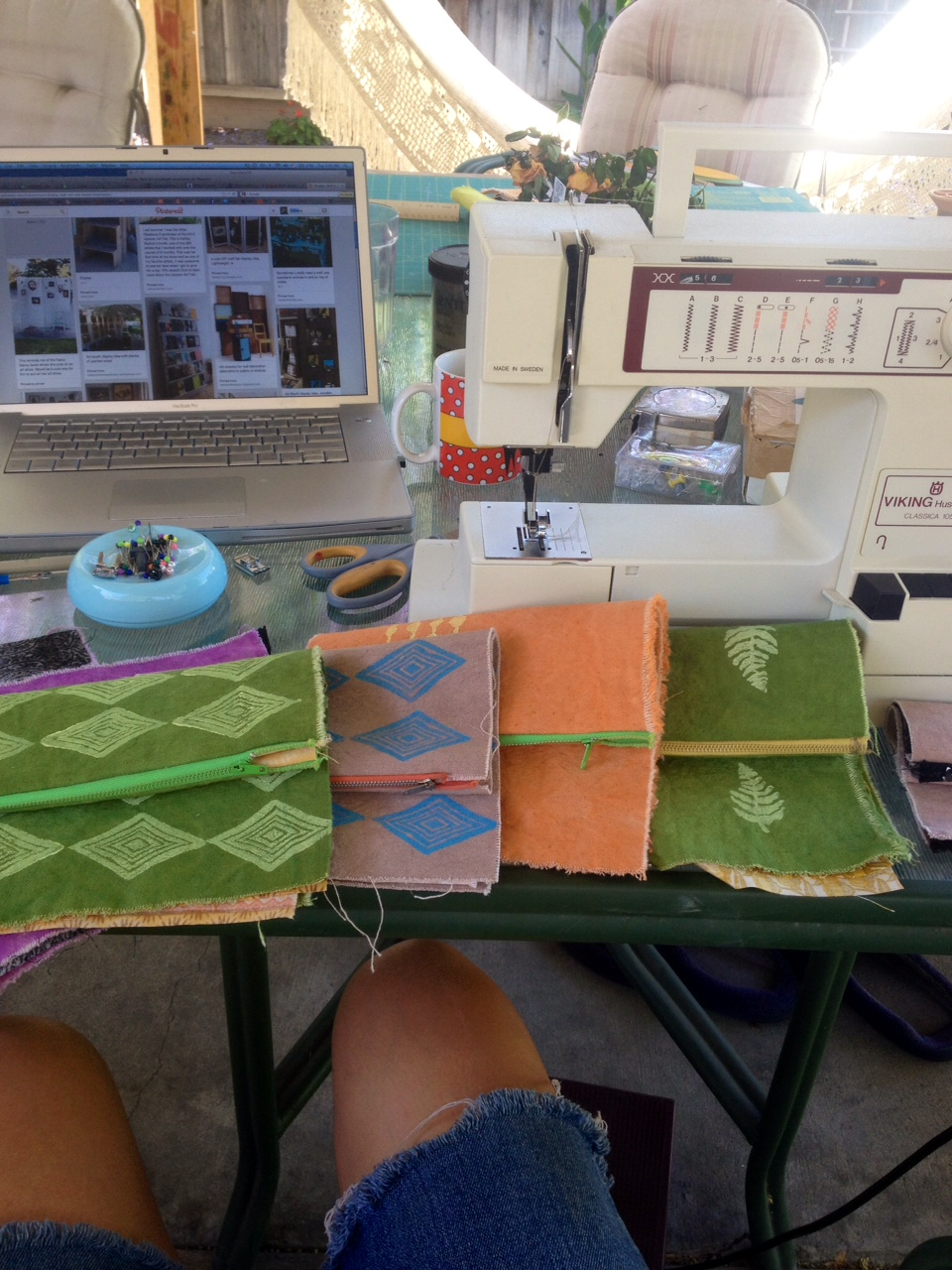 Multitasking. Getting booth ideas on  Pinterest  while arranging my bags.