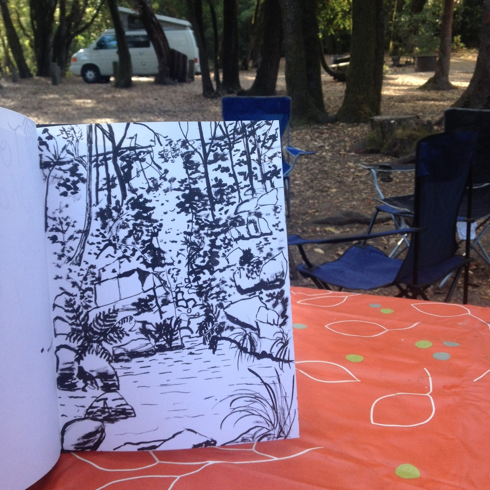 Sketching the Garden of Eden swimming hole at the Henry Cowell Campground