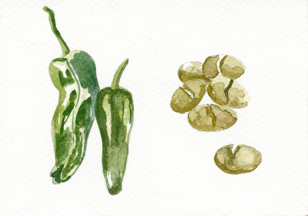 Padrón peppers and cracked olives