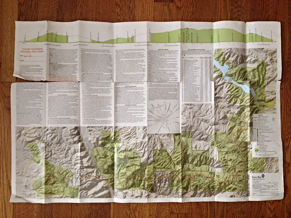 Ohlone Wilderness Trail map