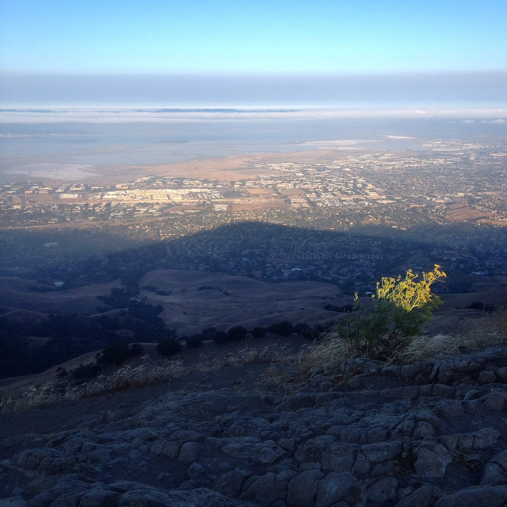 The shadow of Mission Peak on the valley.