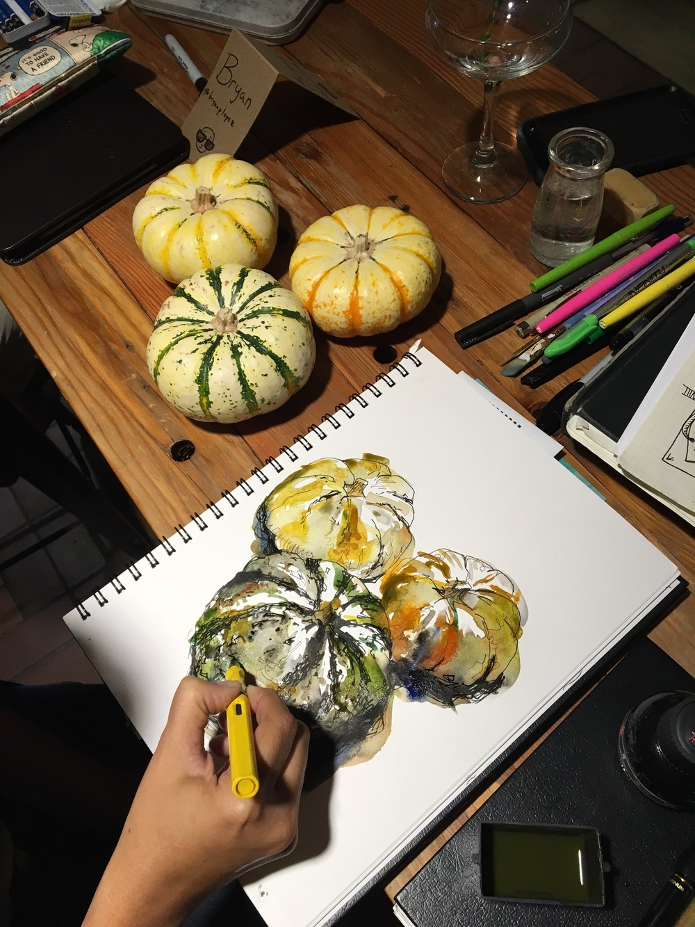 Suhita Shirodkar's pumpkins. Her sketches are always so loose, yet representative.