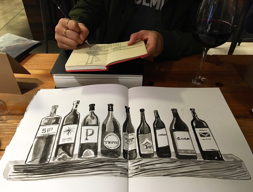 I drew wine bottles in Sumi ink