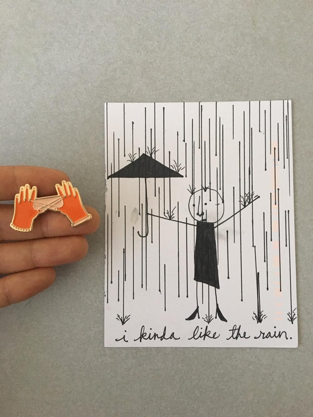 Jeremiah Harada postcard and Etsy pin