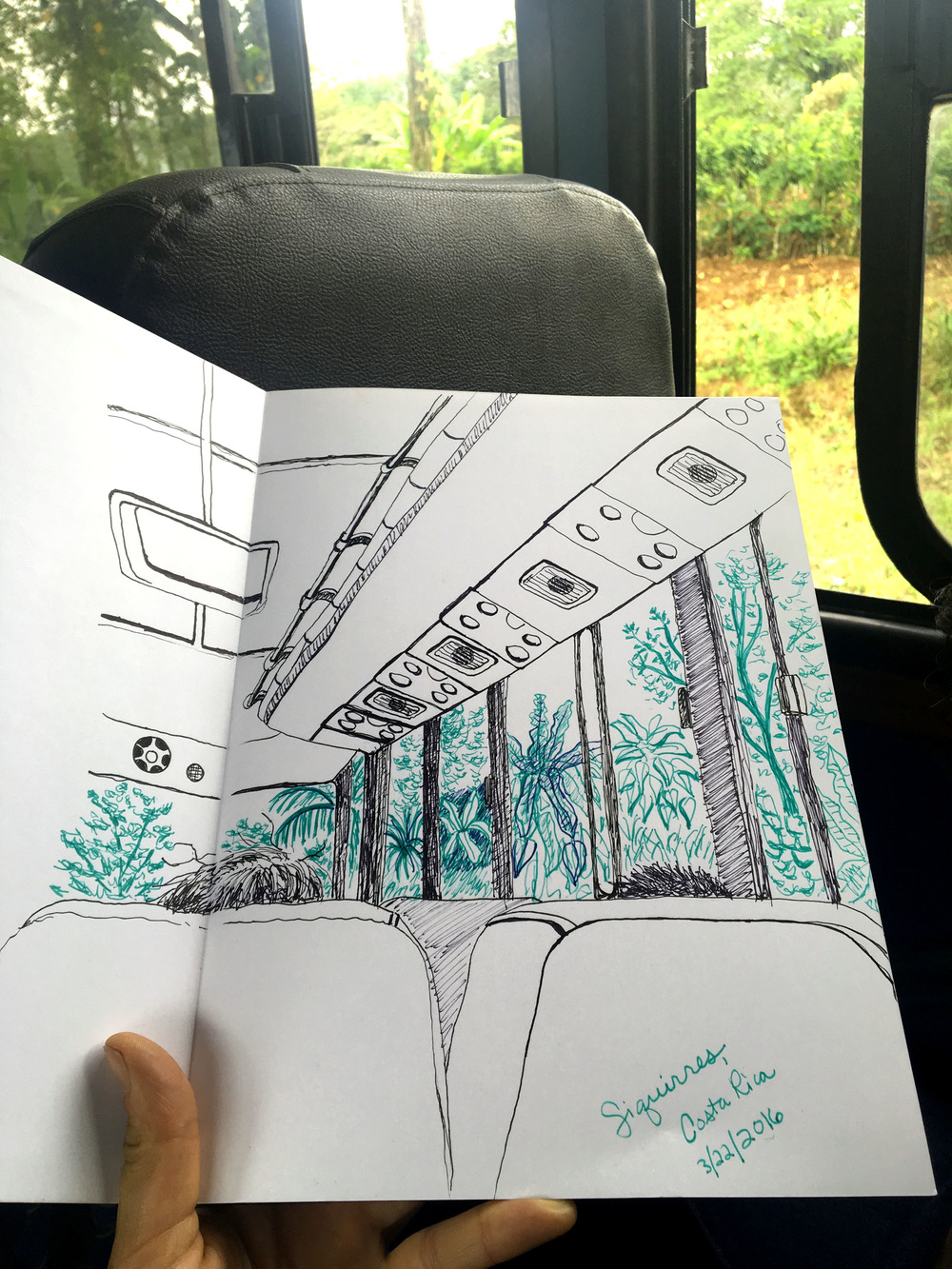 A sketch from the bus going through Siquirres, Costa Rica