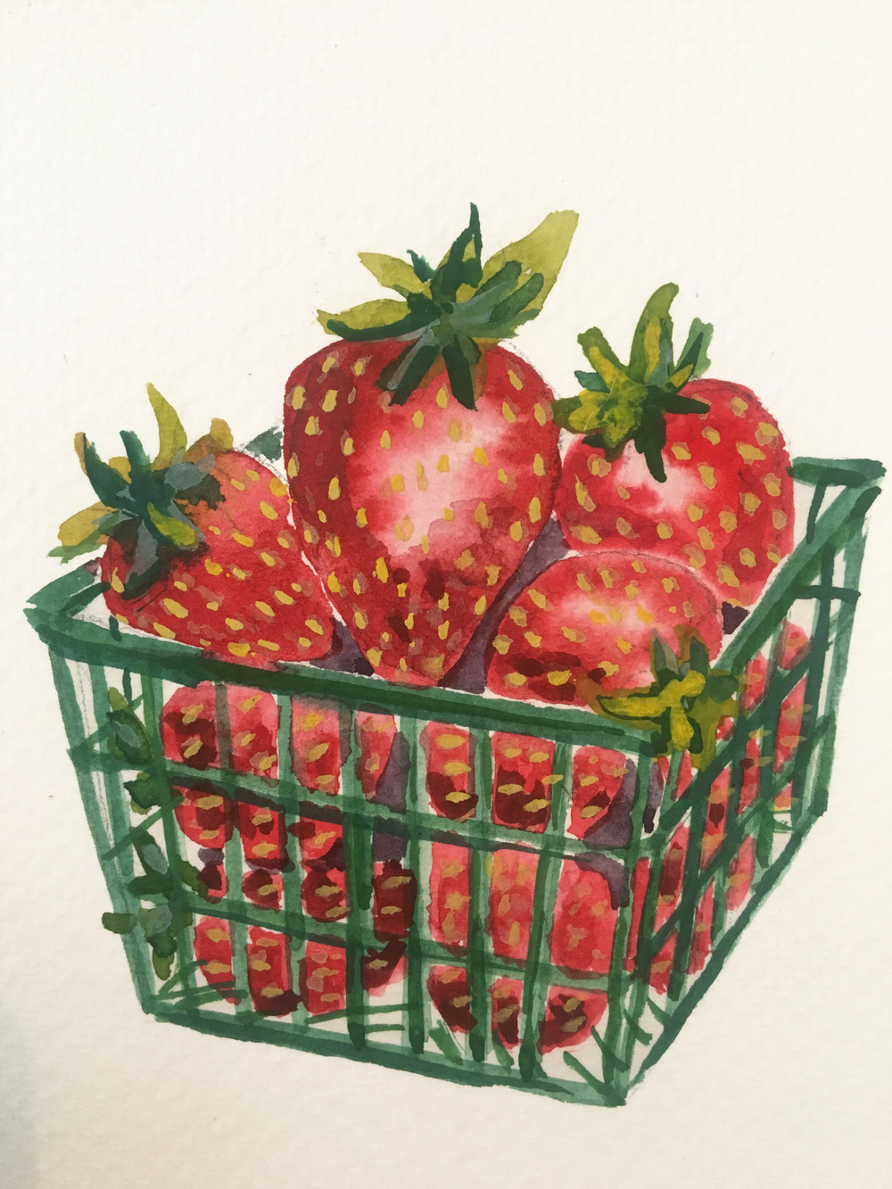 A basket of strawberries painted on a postcard for a friend